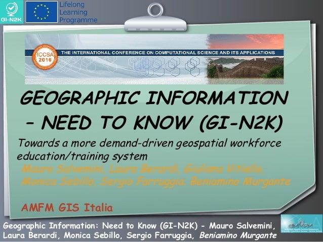 Geographic Information: Need to Know (GI-N2K) - Mauro Salvemini, Laura Berardi, Monica Sebillo, Sergio Farruggia, Beniamin...