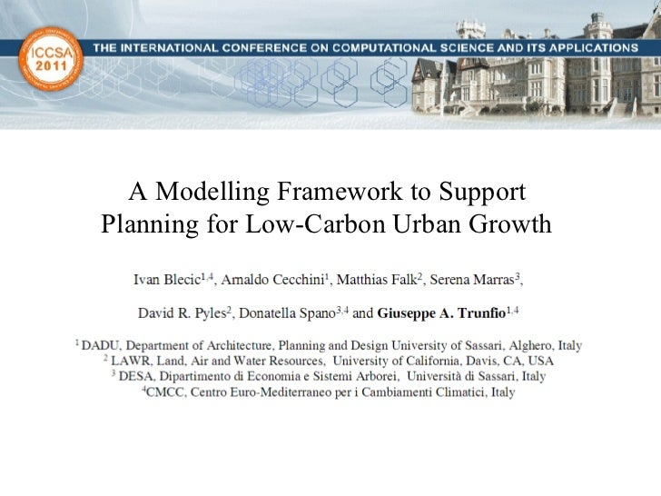 A Modelling Framework to Support  Planning for Low-Carbon Urban Growth