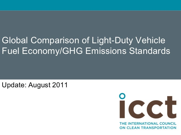 Global Comparison of Light-Duty VehicleFuel Economy/GHG Emissions StandardsUpdate: May 2012