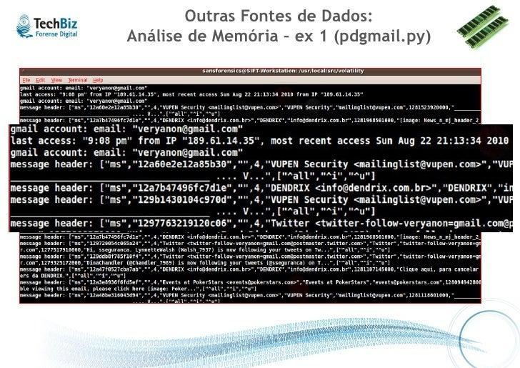Outras Fontes de Dados: Análise de Memória – ex 2 (Ftk 3.x)