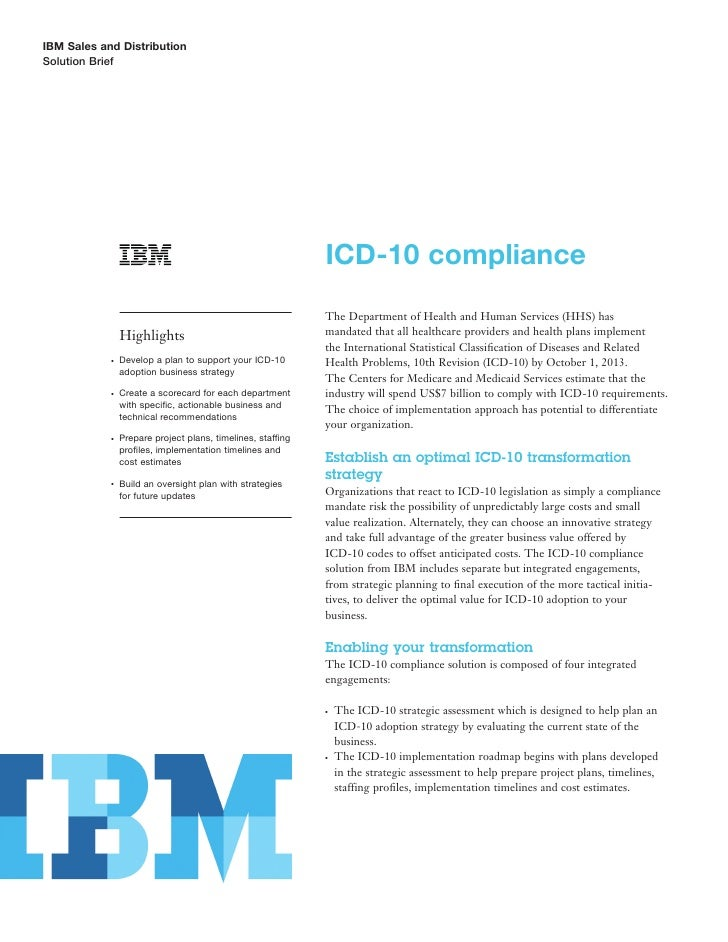 IBM Sales and Distribution Solution Brief                                                                  ICD-10 complian...