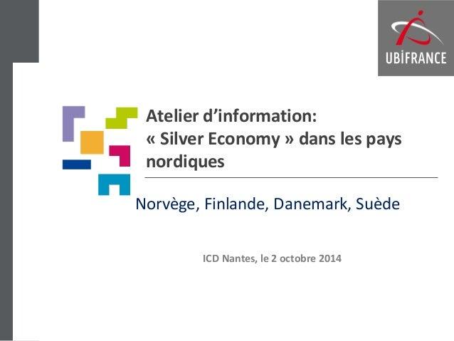 Atelier d'information: « Silver Economy » dans les pays nordiques  Norvège, Finlande, Danemark, Suède  ICD Nantes, le 2 oc...