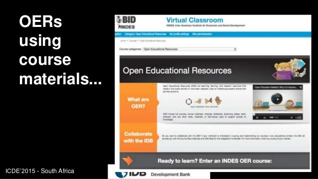 ICDE'2015 - South Africa OERs using course materials... 10