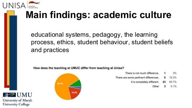 Main findings: academic culture educational systems, pedagogy, the learning process, ethics, student behaviour, student be...
