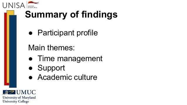 Summary of findings ● Participant profile Main themes: ● Time management ● Support ● Academic culture