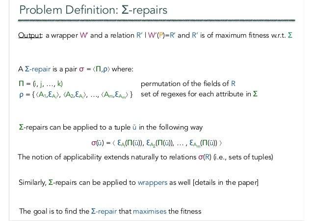 Problem Definition: Σ-repairs Π = (i, j, …, k) permutation of the fields of R ρ = { ⟨A1,ƐAi ⟩, ⟨A2,ƐAi ⟩, …, ⟨Am,ƐAm ⟩ } s...