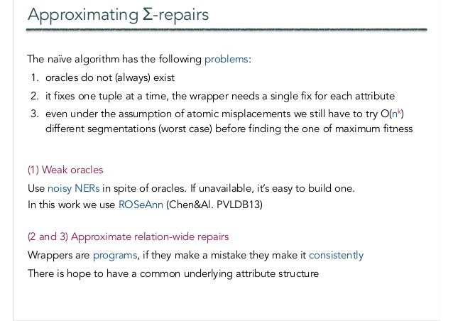Approximating Σ-repairs The naïve algorithm has the following problems: 1. oracles do not (always) exist 2. it fixes one t...