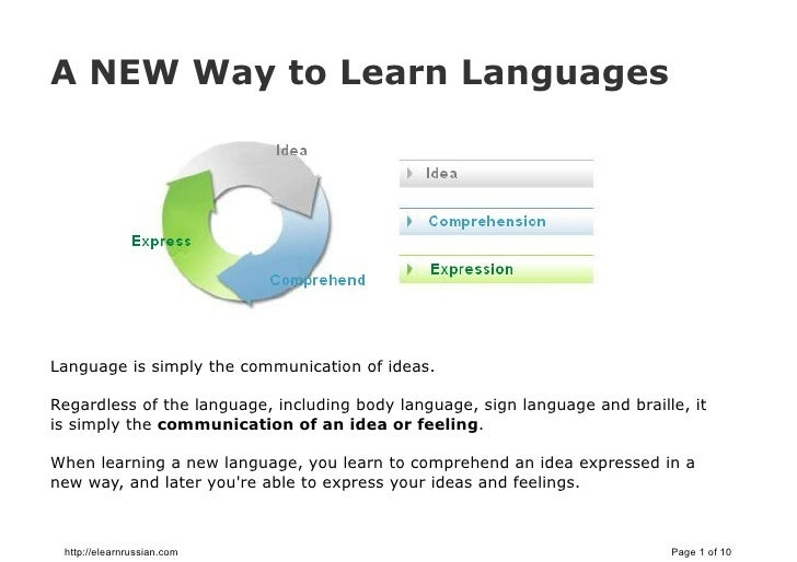 A NEW Way to Learn Languages     Language is simply the communication of ideas.  Regardless of the language, including bod...