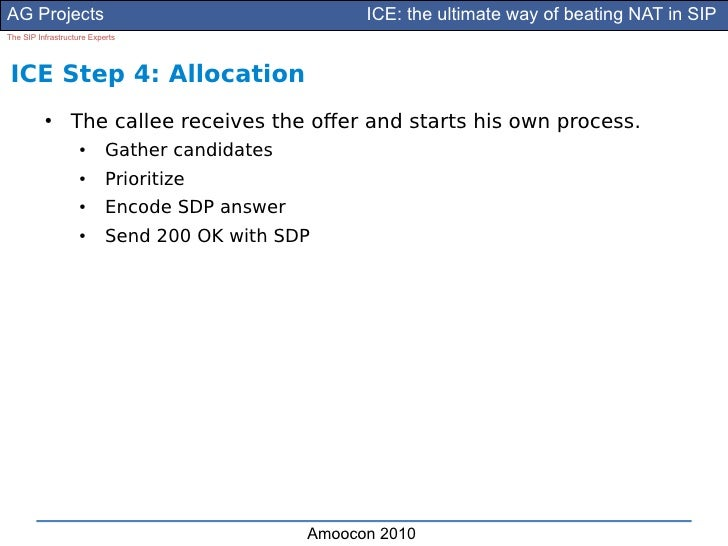 AG Projects                                          ICE: the ultimate way of beating NAT in SIP The SIP Infrastructure Ex...