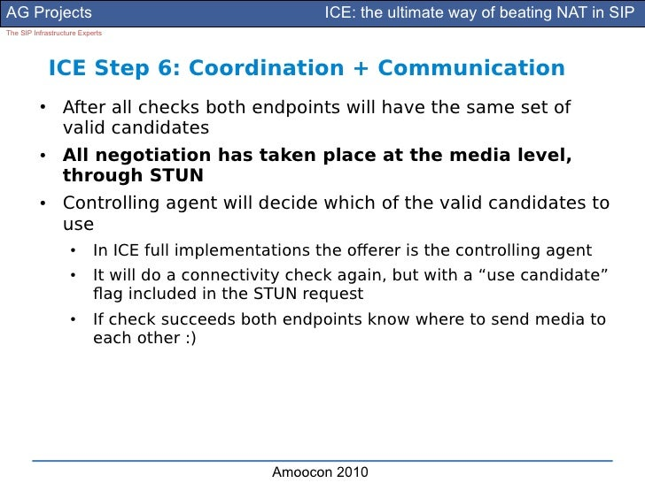 AG Projects                                             ICE: the ultimate way of beating NAT in SIP The SIP Infrastructure...