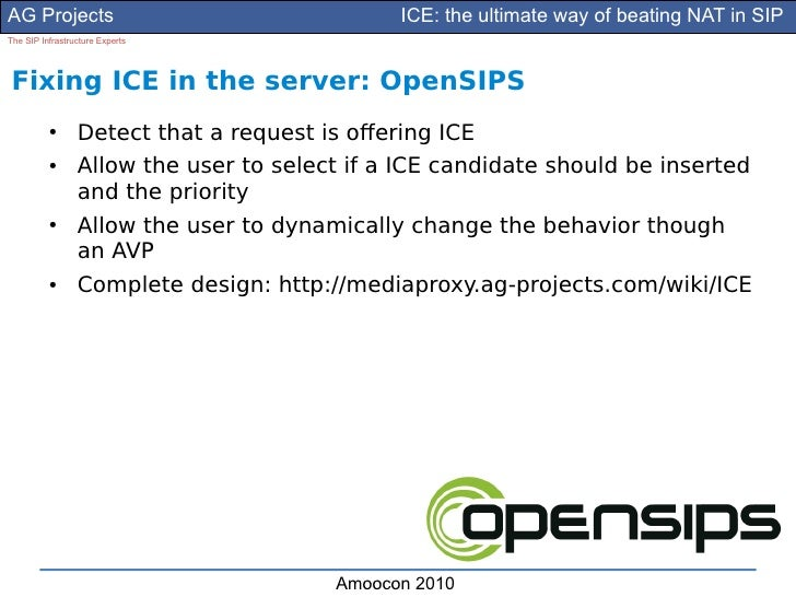 AG Projects                                   ICE: the ultimate way of beating NAT in SIP The SIP Infrastructure Experts  ...