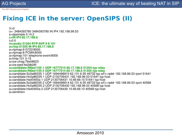 AG Projects                                                      ICE: the ultimate way of beating NAT in SIP The SIP Infra...
