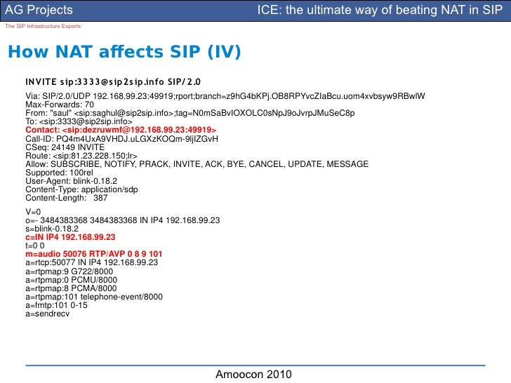 AG Projects                                                 ICE: the ultimate way of beating NAT in SIP The SIP Infrastruc...