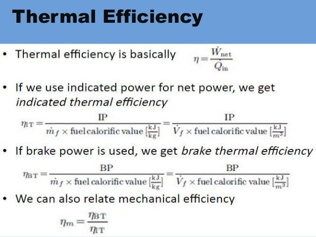 I C Engines Efficiencies