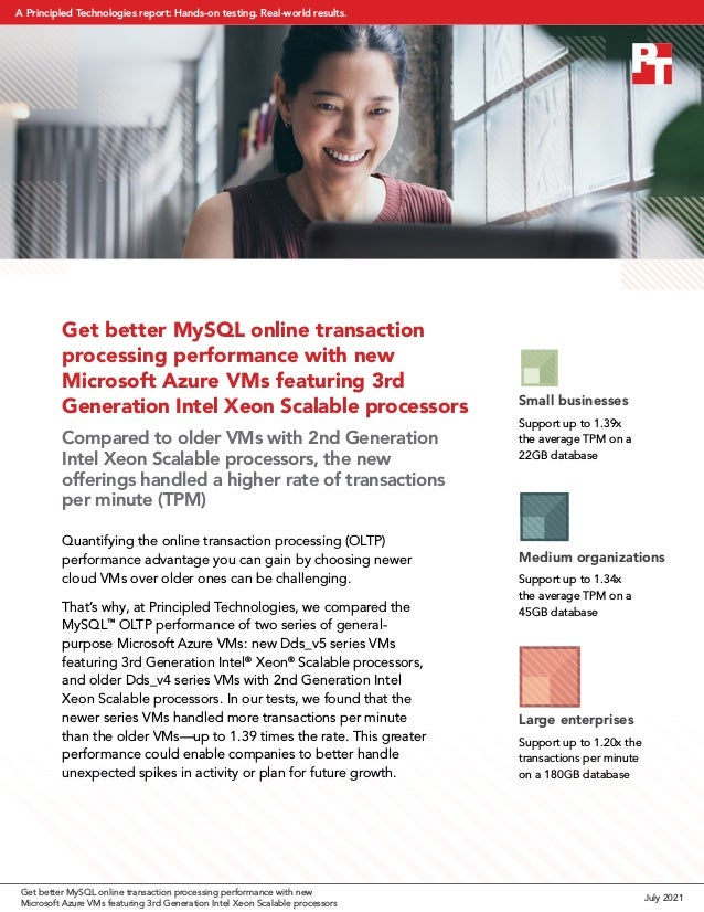 Get better MySQL online transaction processing performance with new Microsoft Azure VMs featuring 3rd Generation Intel Xeo...