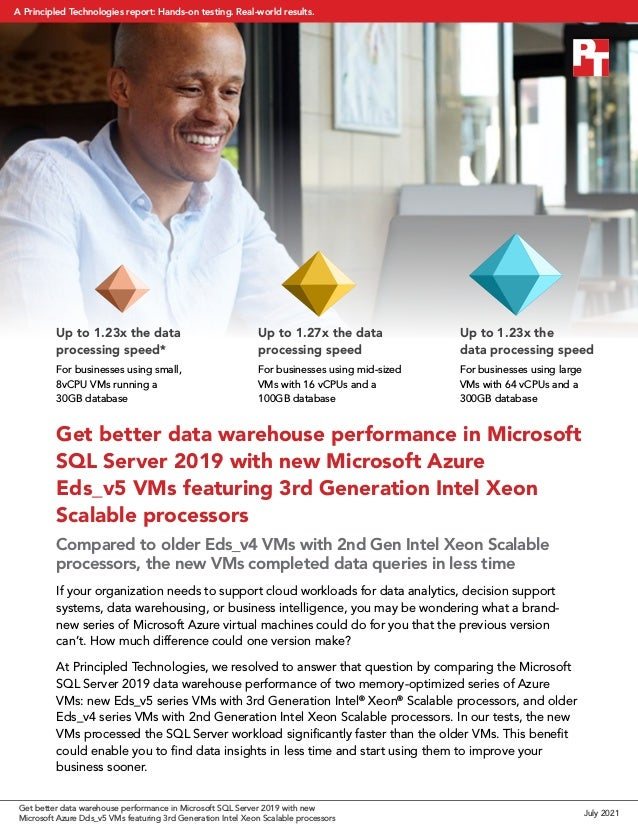 Get better data warehouse performance in Microsoft SQL Server 2019 with new Microsoft Azure Eds_v5 VMs featuring 3rd Gener...