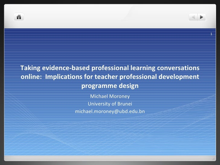 Taking evidence-based professional learning conversations online:  Implications for teacher professional development progr...