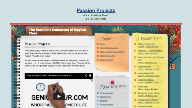 Passion Projects a.k.a. Genius Hour a.k.a. 20% time