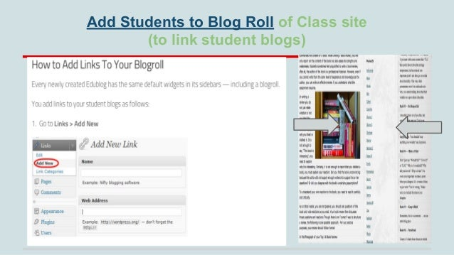 Add Students to Blog Roll of Class site (to link student blogs)