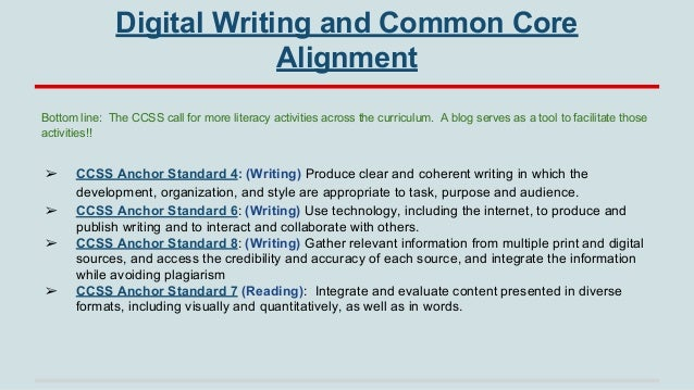 Digital Writing and Common Core Alignment Bottom line: The CCSS call for more literacy activities across the curriculum. A...