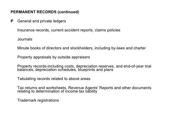<ul><li>PERMANENT RECORDS (continued) </li></ul><ul><li> General and private ledgers </li></ul><ul><li> </li></ul><ul><l...