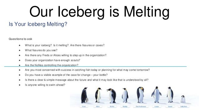summary our iceberg is melting by The scene is set in the penguins' antarctic community on top of an iceberg that is  about to melt away the cast of penguin characters take on.