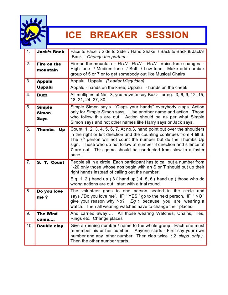 Sample icebreakers