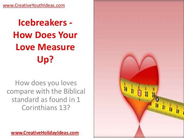 www.CreativeYouthIdeas.com  Icebreakers How Does Your Love Measure Up? How does you loves compare with the Biblical standa...
