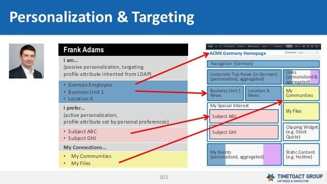 103 Frank Adams I am… (passive personalization, targeting profile attribute inherited from LDAP) • German Employee • Busin...