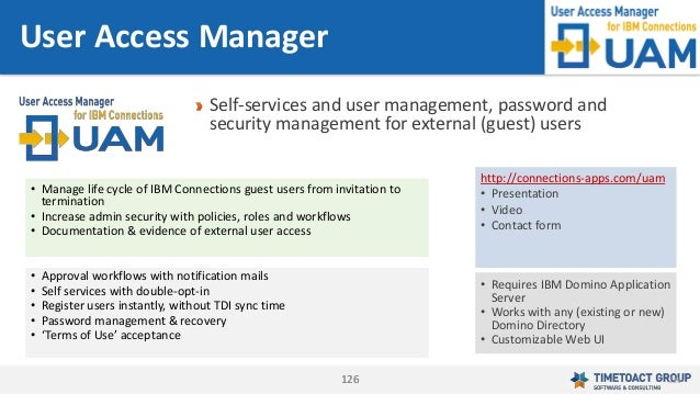 126126 Self-services and user management, password and security management for external (guest) users User Access Manager ...