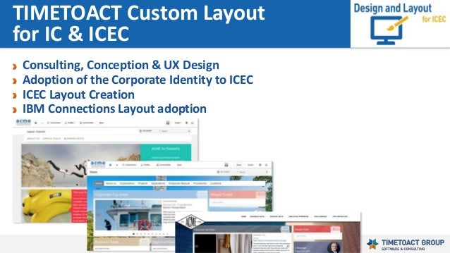 136 Consulting, Conception & UX Design Adoption of the Corporate Identity to ICEC ICEC Layout Creation IBM Connections Lay...