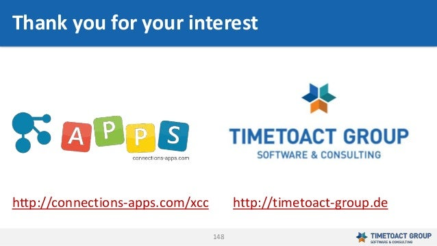 148 Thank you for your interest http://connections-apps.com/xcc http://timetoact-group.de