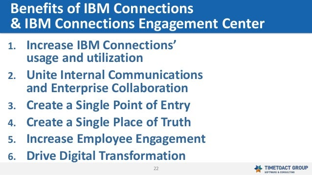22 1. Increase IBM Connections' usage and utilization 2. Unite Internal Communications and Enterprise Collaboration 3. Cre...