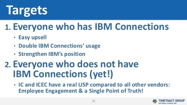 24 1. Everyone who has IBM Connections • Easy upsell • Double IBM Connections' usage • Strengthen IBM's position 2. Everyo...