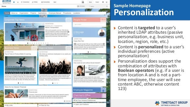 31 Content is targeted to a user's inherited LDAP attributes (passive personalization, e.g. business unit, location, regio...