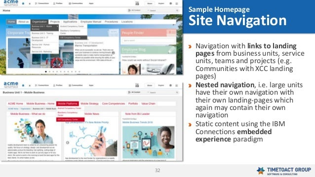 32 Navigation with links to landing pages from business units, service units, teams and projects (e.g. Communities with XC...