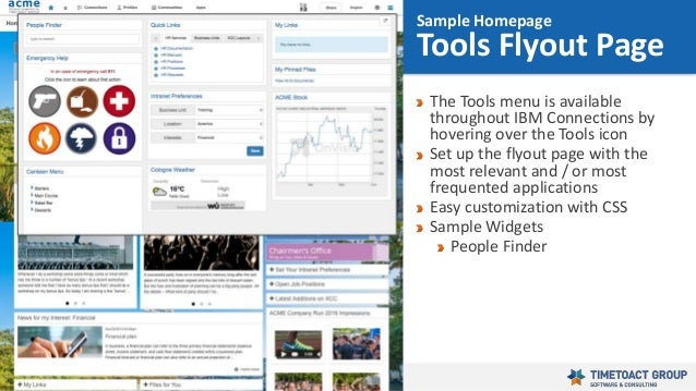 33 The Tools menu is available throughout IBM Connections by hovering over the Tools icon Set up the flyout page with the ...