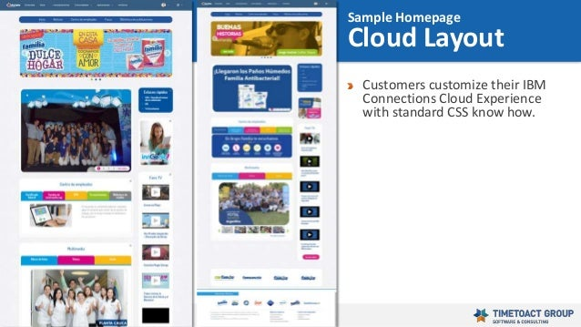 39 Customers customize their IBM Connections Cloud Experience with standard CSS know how. Sample Homepage Cloud Layout