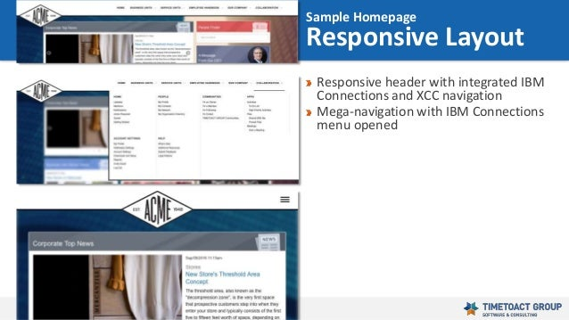 40 Responsive header with integrated IBM Connections and XCC navigation Mega-navigation with IBM Connections menu opened S...