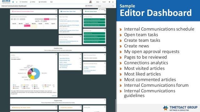 41 Internal Communications schedule Open team tasks Create team tasks Create news My open approval requests Pages to be re...