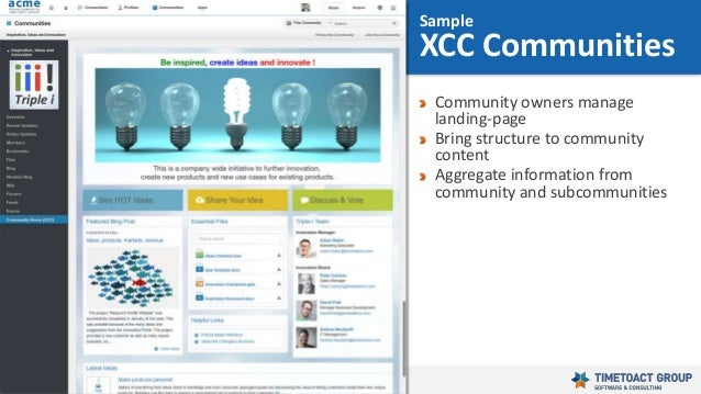 43 Community owners manage landing-page Bring structure to community content Aggregate information from community and subc...