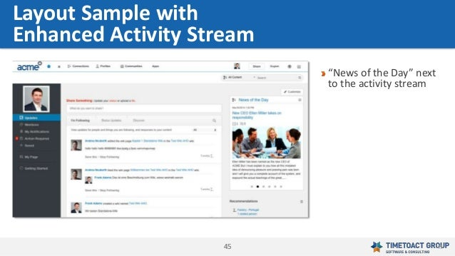 """4545 """"News of the Day"""" next to the activity stream Layout Sample with Enhanced Activity Stream 45"""