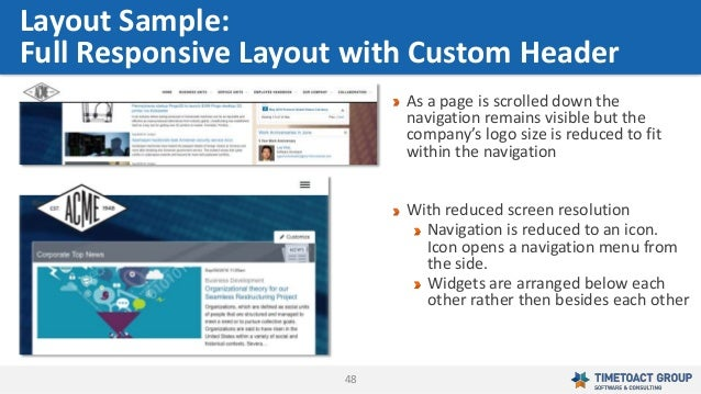 48 Layout Sample: Full Responsive Layout with Custom Header As a page is scrolled down the navigation remains visible but ...