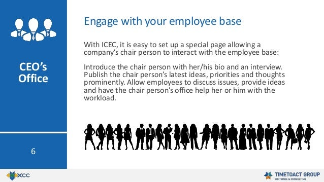 With ICEC, it is easy to set up a special page allowing a company's chair person to interact with the employee base: Intro...