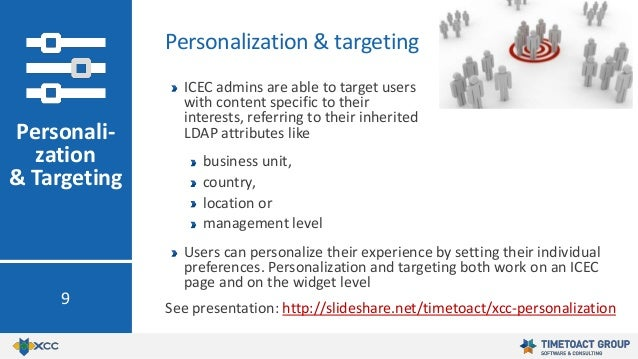 ICEC admins are able to target users with content specific to their interests, referring to their inherited LDAP attribute...