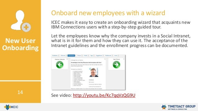 ICEC makes it easy to create an onboarding wizard that acquaints new IBM Connections users with a step-by-step guided tour...