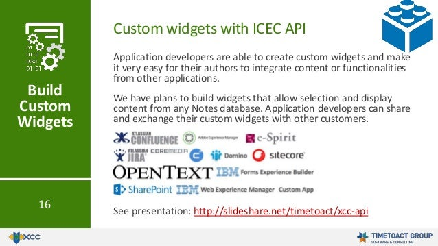 Application developers are able to create custom widgets and make it very easy for their authors to integrate content or f...
