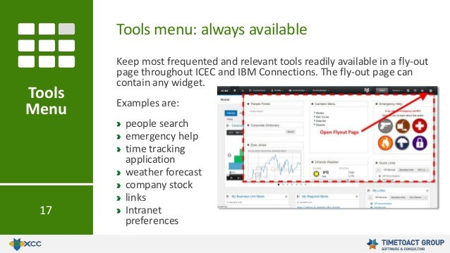 Keep most frequented and relevant tools readily available in a fly-out page throughout ICEC and IBM Connections. The fly-o...