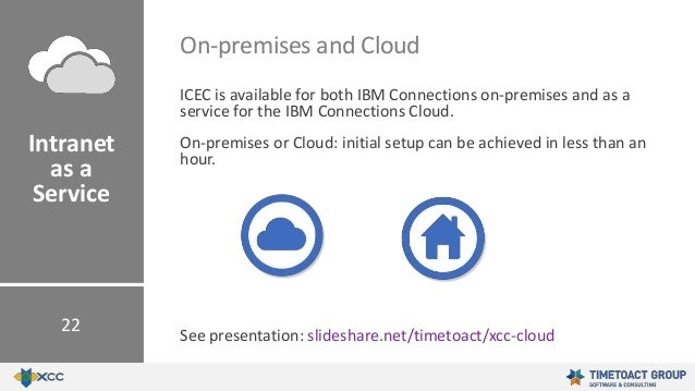 ICEC is available for both IBM Connections on-premises and as a service for the IBM Connections Cloud. On-premises or Clou...