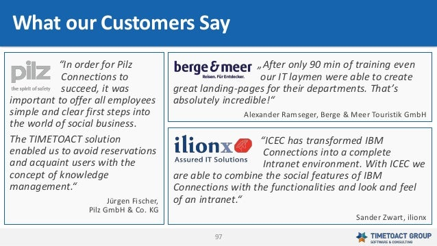 """97 What our Customers Say """"After only 90 min of training even our IT laymen were able to create great landing-pages for th..."""
